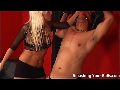 Femdom Fetish Ballbusting video: How much pain can your little balls endure?