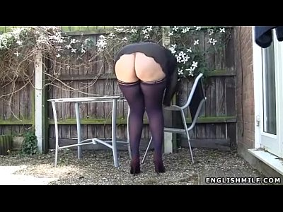 British Stockings Voyeur video: stockings upskirt no panties sexy ass UK milf