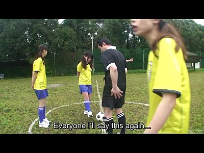 Teen Outdoor Student video: Subtitled ENF CMNF Japanese nudist soccer penalty game HD