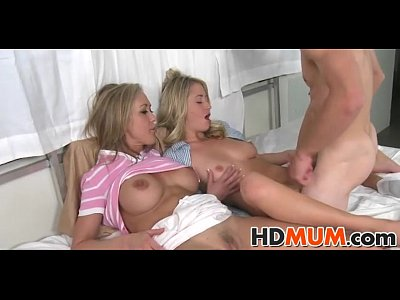 Blowjob Threesome Milf video: Sex teached by sexy mum