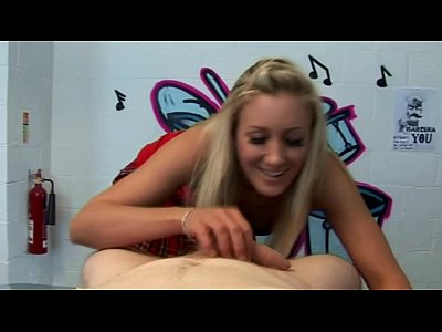 Femdom Pov Handjob video: Blond slut is not very impresssed with his cock