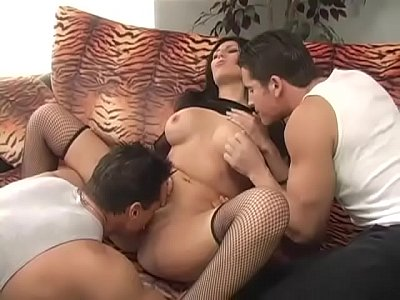Pretty brunette banged by two guys