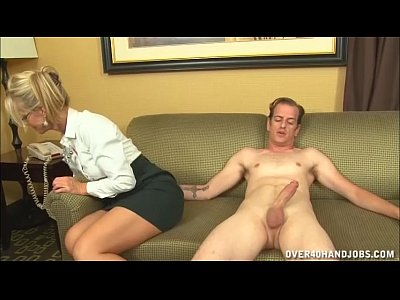 Blonde Handjob video: Naughty Mature Lady Loves Jerking