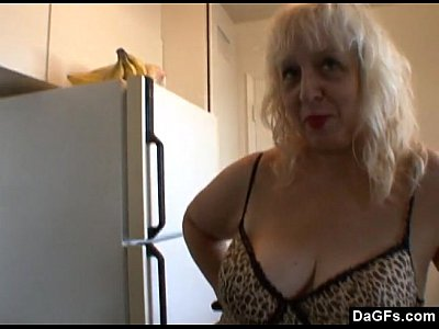 Bbw Blonde Milf video: Fat mature does breakfast in the kitchen