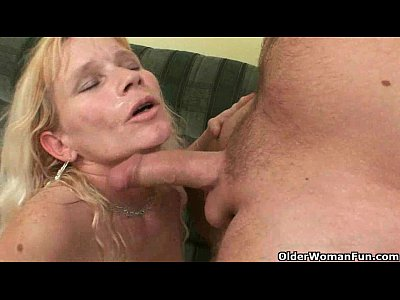 Cougar Cumshot Cumshots video: Mom will take your cum in any way she can