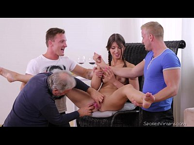 Group Teen Blowjob video: Virgin Marisa looses virginity with two guys after doctor check