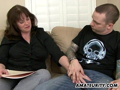 Bigtits Blowjob Brunette video: Busty amateur Milf sucks and fucks a young dick