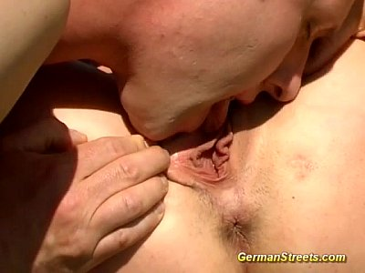 German Amateur Bukkake video: pickup german redhead for a ride