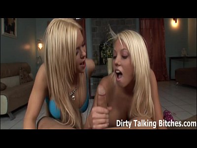 Domination Femdom Femdomclips video: POV double blowjob from two hot blondes
