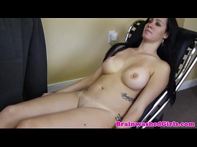 Tranced busty babe rubs pussy for doctor