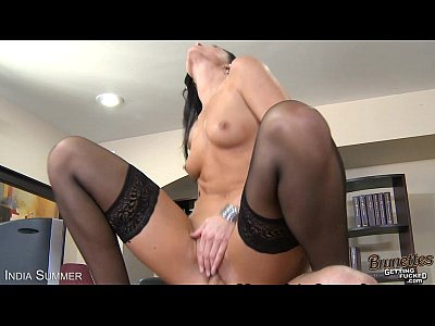 Stockings Lingerie Oral video: Brunette India Summer fuck a big prick