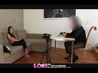 British Pov Office video: Love Creampie Cute young amateur does casting to start porn career
