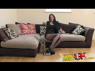 British Stockings Pov video: FakeAgentUK Sexy stocking clad Liverpool girl spreads legs in casting