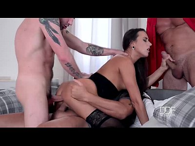 Asscum College Cowgirl video: Hot Czech Chick Gets a Triple Dick Treatment