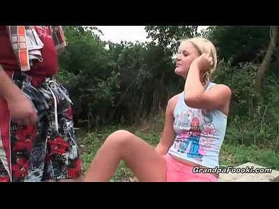 Blonde babe gives head in the nature