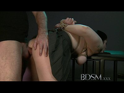 Analsex Bdsm Blackhair video: BDSM XXX Black haired sub has breasts tied to the ceiling before anal hook
