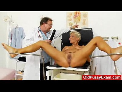 Closeup Doctor Exam video: Blondes mamma gyno in addition to a little extra