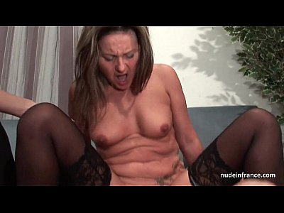 FFM French mature ass fucked for her amateur casting couch with a redhead slut