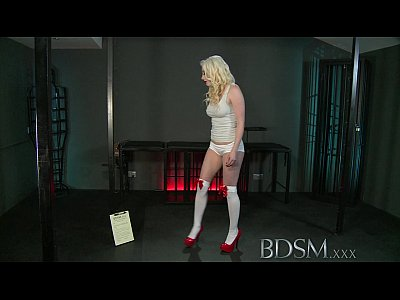 BDSM XXX Sexy blonde gets hooded and suspended as both holes are filled