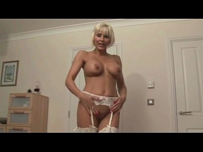 Femdom Pov Handjob video: Granny bimbo with lingerie gives hj POV