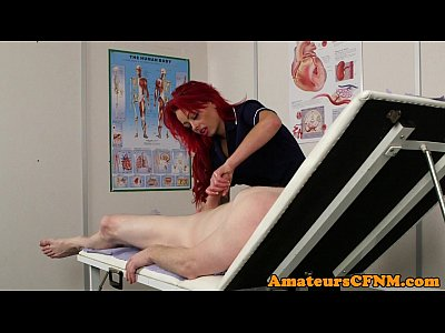 Redhead cfnm nurse jerking while in stockings