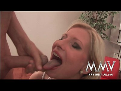 Blonde Bukkake Cumshot video: MMVFilms German sperm diva loves bukkake gokkun
