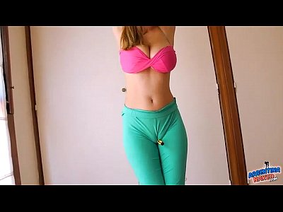 Latin Teen Blonde video: Huge Natural Boobs Blonde And Perfect Cameltoe In Yoga Pants!