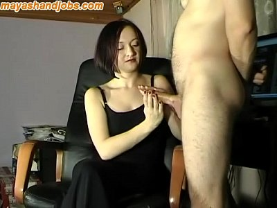 Handjob Cum xxx: huge cumshot on Maya black dress