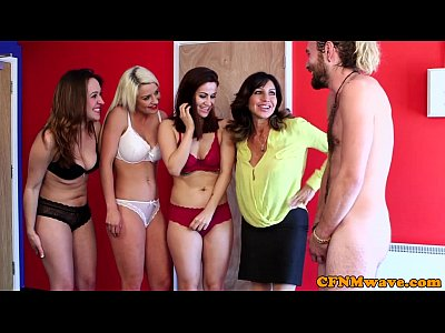 Voyeur Group Blowjob video: CFNM ladies use him