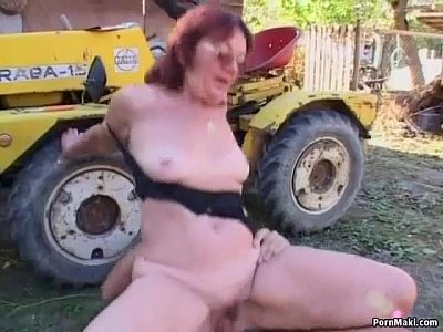 Hairy Chubby Mature video: Redhead granny fucked in the back yard