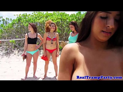 Bikini Cumshot Group video: Real nympho springbreakers in POV orgy