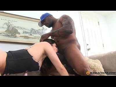 Hairy Interracial Brunette video: Black dildo and black cock
