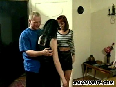Group Blowjob Threesome video: Hot amateur Milfs in a homemade threesome