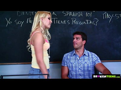 Teen Blonde Blowjob video: BrokenTeens - Vanessa Cage Has a Crush on the Spanish Teacher
