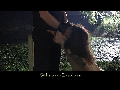 Fingering Bdsm Spanking video: Skinny redhead slave used as sex toy in the forest