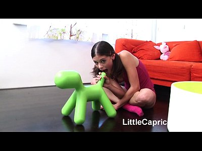 Amateurs Blowjob Couple video: Little Caprice sucking and fucking hard on red sofa