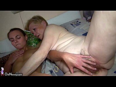 Porno video: Nice young woman and old granny masturbated