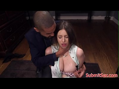 Tied up bondage sub spanked before anal fucking