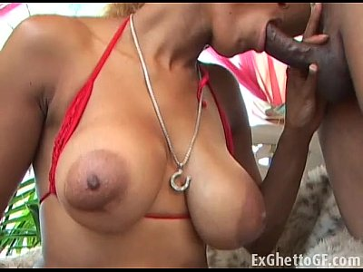 Blonde ebony chick cummed over her tits