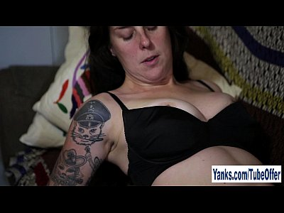 Tattooed Susie Masturbating Her Hairy Muff