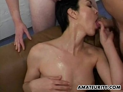 Blowjob Brunette Cougar video: Amateur mom gangbang with many cocks and facials