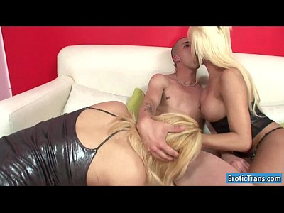 Two blonde shemales anal pounded by lucky guy o...