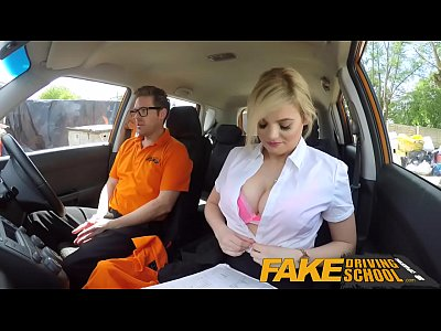 Pov Blonde Bigboobs video: Fake Driving School Posh busty blonde examiner fucks and swallows in POV