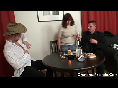 Grandmathreesome Grandmother Granma video: Poker leads to 3some with old bitch in stockings