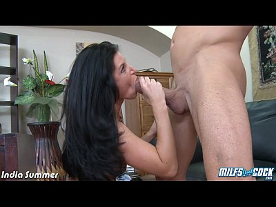 Brunette Dick Facial video: MILF India Summer riding anally a big cock