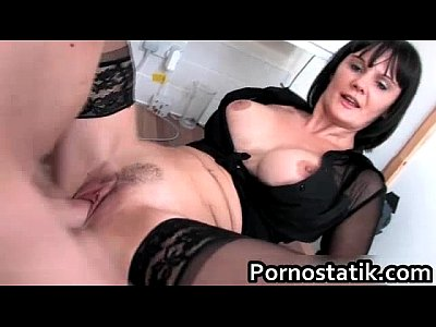 Hardcore British Stockings video: Black haired cougar in black stockings