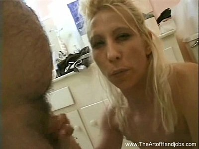 Trashy Blonde Handjob