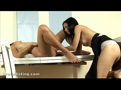 Sexy Simone brutally fists Natalis tight wet pussy