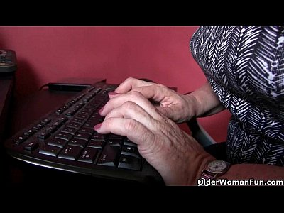 Stockings Milf Office video: Grandma needs to get off when the work is done