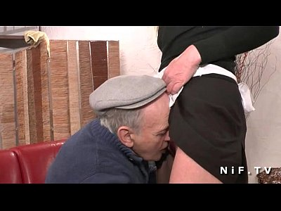 Blonde Euro European video: French maid fucked hard in threeway with Papy Voyeur